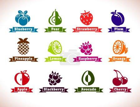 Illustration pour Ensemble d'icônes de fruits et baies, collection vectorielle - image libre de droit