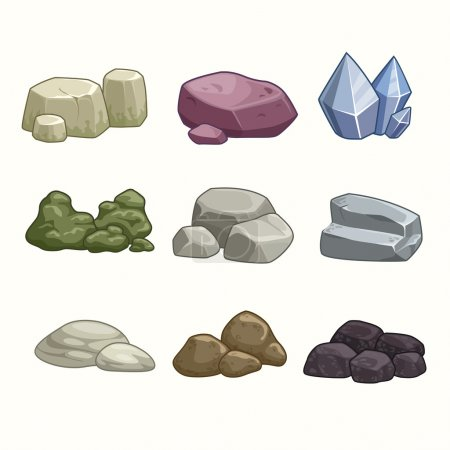 Cartoon stones and minerals