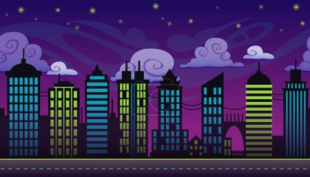 Cartoon night city landscape