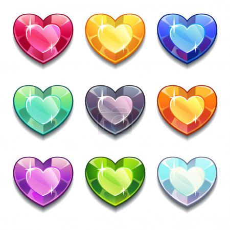 Diamond hearts icons