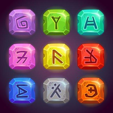 Illustration pour Pierres carrées brillantes avec des symboles fantastiques. Runes sur les rochers en différentes couleurs, de beaux éléments pour la conception de jeux - image libre de droit