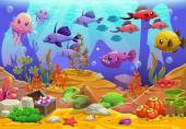 Underwater world cartoon vector illustration