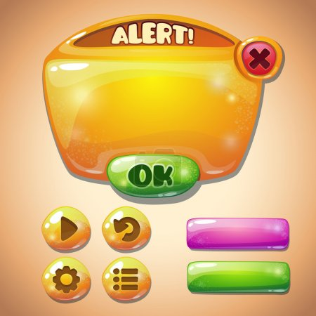Illustration for Set of yellow glossy information panel and buttons, beautiful sparkling elements for your game design - Royalty Free Image