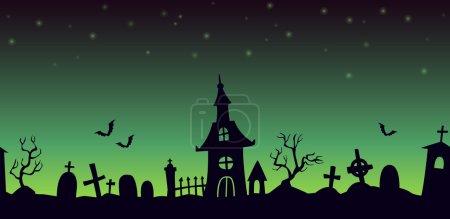 Night cartoon cemetery landscape, seamless backgro...
