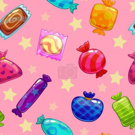 Illustration pour Modèle sans couture avec des bonbons sur fond bleu - image libre de droit