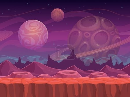 Alien fantastic landscape, seamless space backgrou...