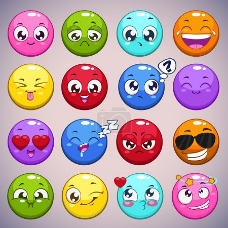 Illustration for Set of colorful cartoon round characters with different emotions, isolated vector emoticons - Royalty Free Image