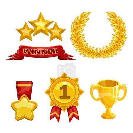 Illustration pour Ensemble d'icônes trophées et récompenses, éléments d'or vectoriels isolés - image libre de droit