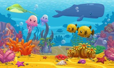 Illustration for Seamless underwater world cartoon vector illustration - Royalty Free Image