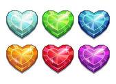 Set of crystal hearts