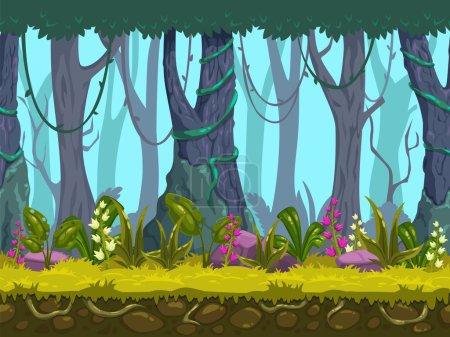 Illustration pour Paysage forestier printanier sans couture, fond de nature vectoriel sans fin avec des couches séparées pour la conception de jeux - image libre de droit