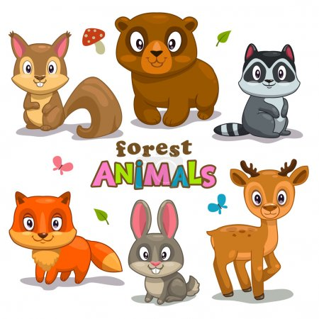 Set of cute cartoon forest animals, childish vecto...