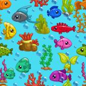 Seamless pattern with cute cartoon fishes and sea weeds on blue