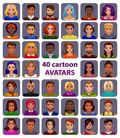 Illustration for Cute cartoon human avatars set, big male and female faces collection - Royalty Free Image