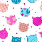 Seamless girlish pattern with cats silhouettes