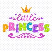 Cute vector illustration for girls t-shirt print little princess lettering on white