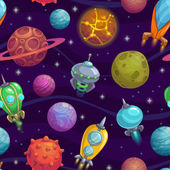 Seamless space pattern with cartoon planets and space ships