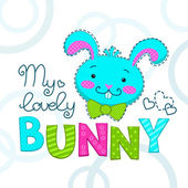 Funny childish illustration with bunny face
