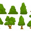 Vector nature elements set, isolated cartoon trees...