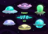 Cartoon fantastic ufo set