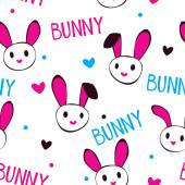 Funny girlish texture with bunny faces