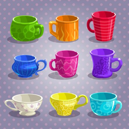 Illustration pour Ensemble de tasses à thé coloré dessin animé, illustration vectorielle - image libre de droit