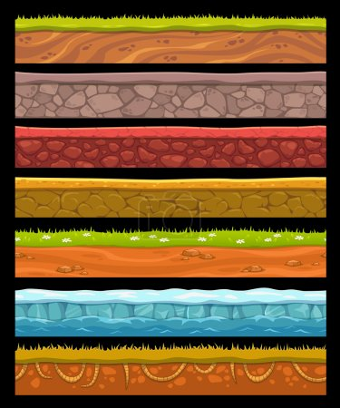 Illustration for Seamless landscape elements set, vector ground collection - Royalty Free Image