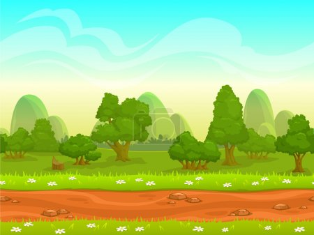Illustration for Cute cartoon seamless landscape with separated layers, summer day illustration - Royalty Free Image
