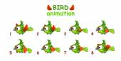Funny cartoon flying green parrot