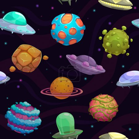 Illustration for Seamless pattern with ufos and fantastic planets, vector space texture - Royalty Free Image