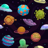 Bezešvé vzor s UFO a fantastické planety