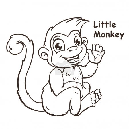 Cute cartoon sitting little monkey