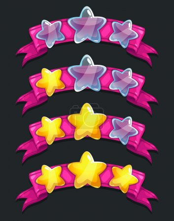 Cool cartoon glassy stars on pink ribbon