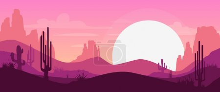 Illustration for Cartoon desert landscape with cactus, hills and mountains silhouettes, vector nature horizontal background - Royalty Free Image