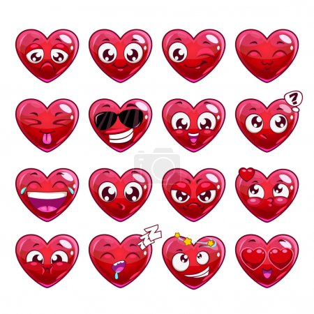 Illustration for Funny cartoon heart character emotions set, vector icons, isolated on white - Royalty Free Image