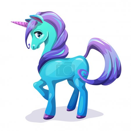 Illustration for Cute cartoon blue unicorn with purple hair, isolated on white vector illustration - Royalty Free Image