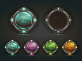 Beautiful vector magic shiny round buttons on dark background gui assets with colorful middles