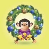 On isolated yellow background depicts a monkey looking out the holiday Christmas wreath decorated with holiday decorations