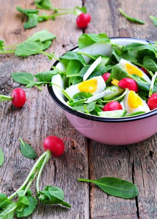 Photo for Salad with cucumber, radish, ramson, spinach, boiled eggs and olive oil. - Royalty Free Image