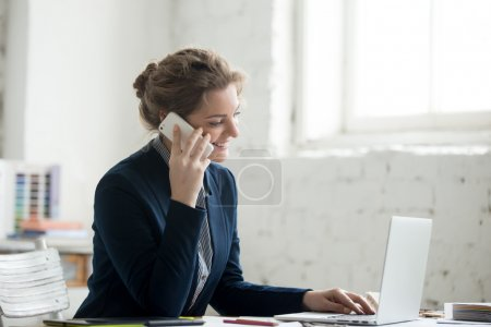 Small business owner on phone