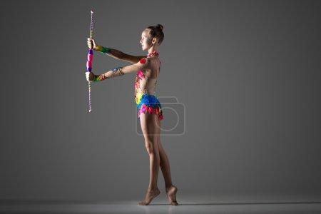 Gymnast girl with mace