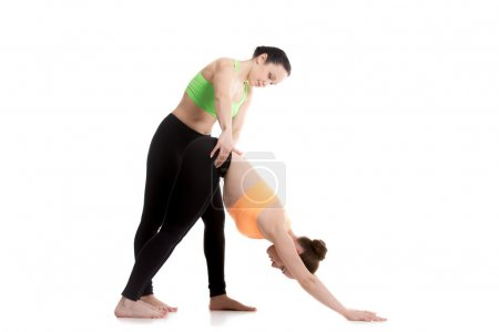 Photo for Group of two slim girls doing yoga training together, instructor correcting student, adjusting waist in downward-facing dog yoga pose, adho mukha svanasana - Royalty Free Image