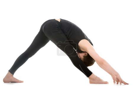 Legs stretching exercises, yoga pose parshvottanasana