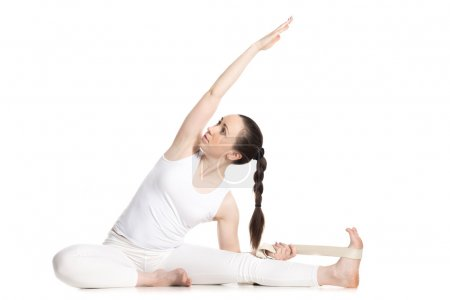 Yoga with props, Revolved Head to Knee pose