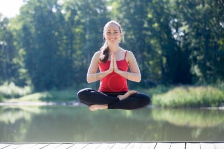 Yogi female floating in thin air