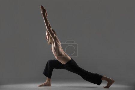 Variation of virabhadrasana 1 yoga pose
