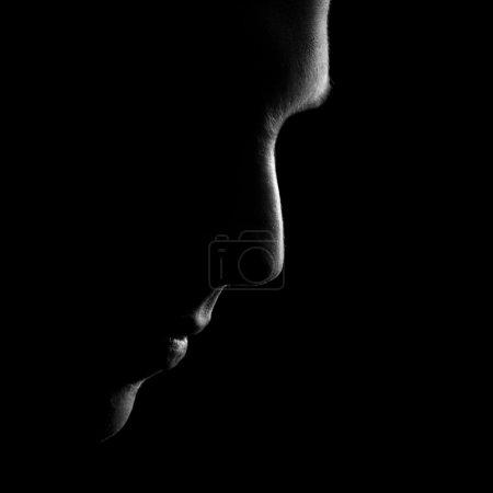 Silhouette of man profile