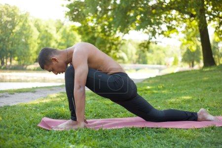 yoga man in park