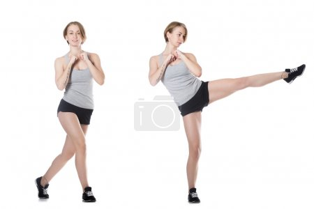 Sporty woman doing fitness exercises