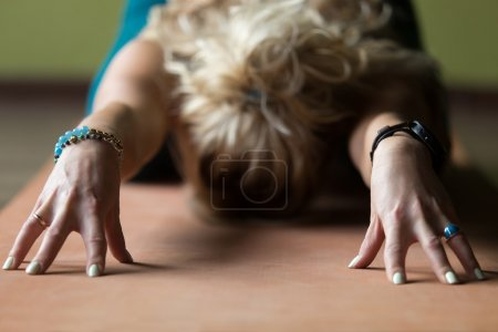 Close-up of Child yoga Pose